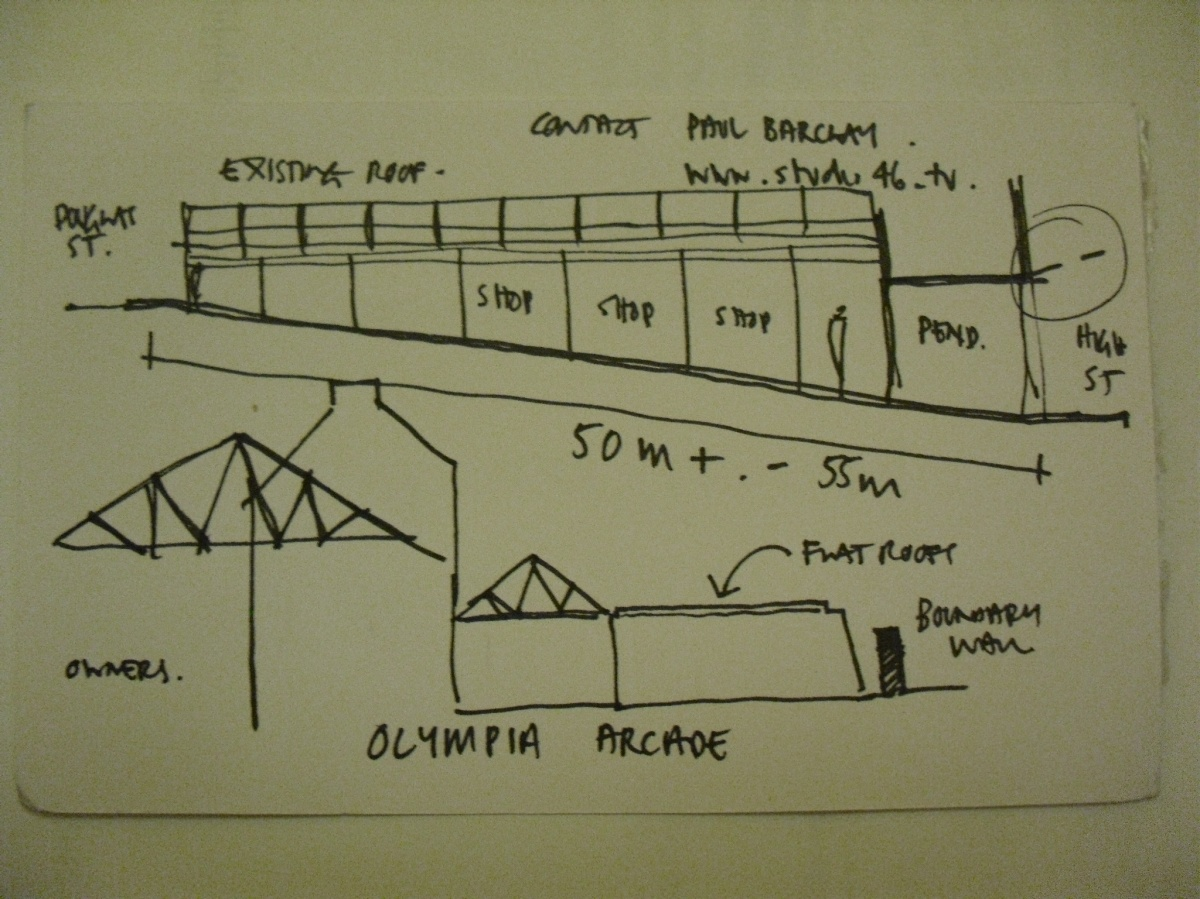 LINE SKETCH DRAWING SHOWING THE BASIC SECTION OF THE OLYMPIA ARCADE